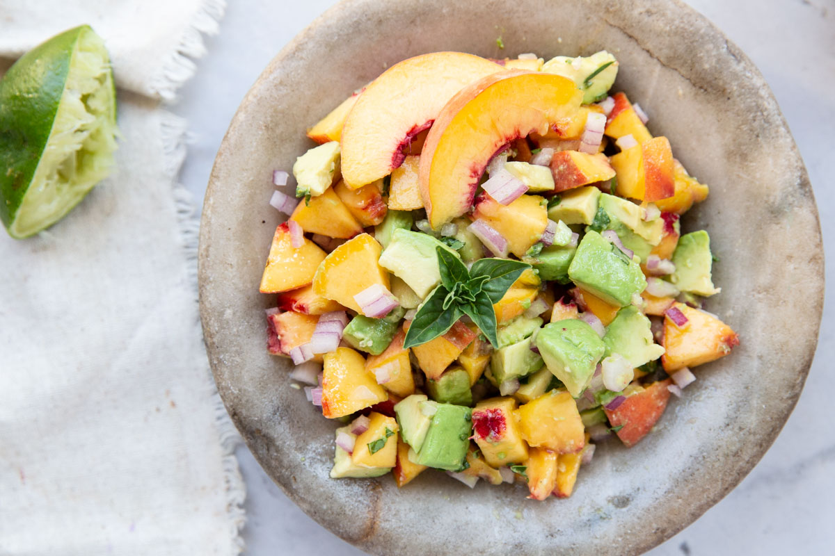 This peach and avocado salsa is so easy. to make and totally addicting!
