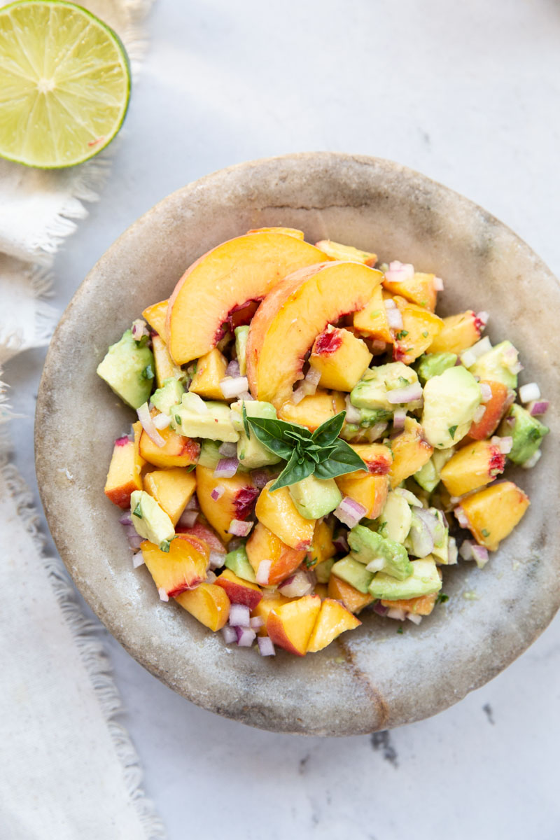 We love this peach and avocado salsa on tacos or rice and chicken bowls.